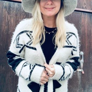 BKE Aztec Fuzzy Sweater Cardigan